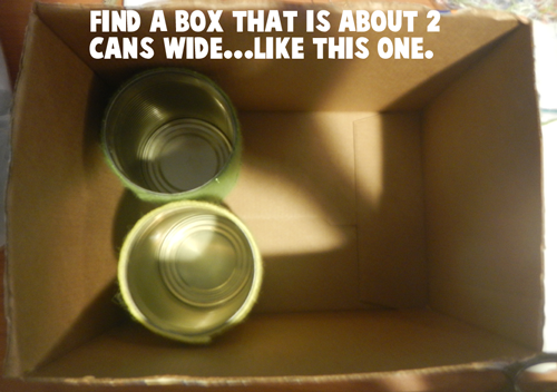 Find a box that is about 2 cans wide