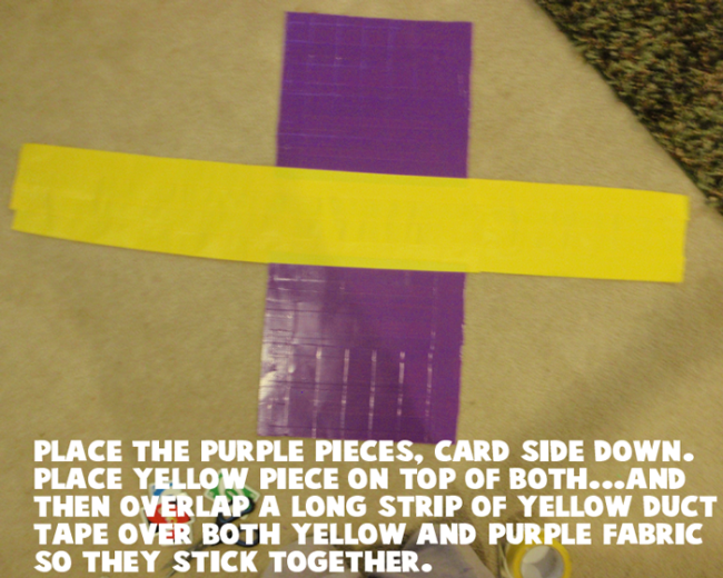Place the purple pieces, card side down.