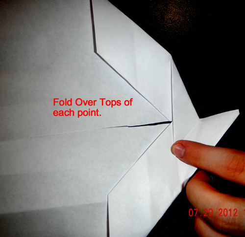 Fold over tops of each point.