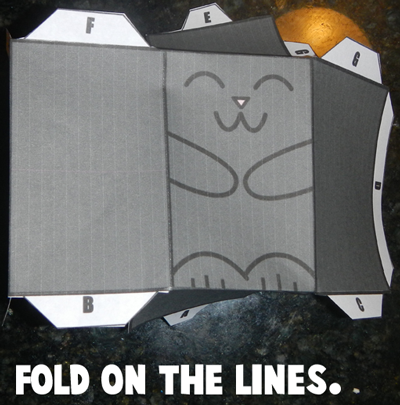 Fold Paper Cat Toy on the Lines