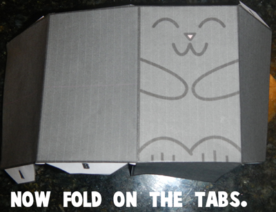 Fold Paper Cat Toy on the Tabs
