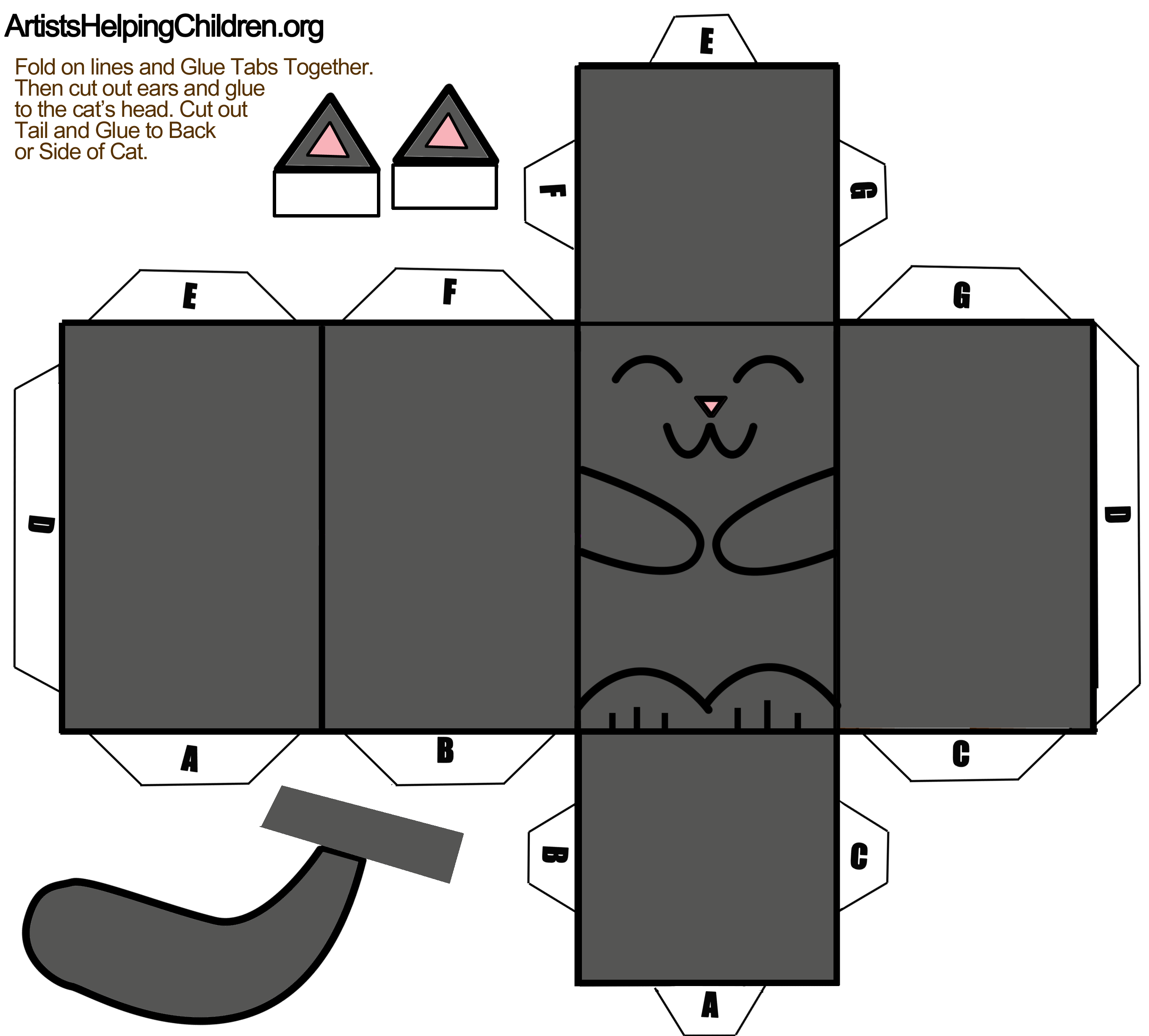 Black Cat Paper Foldable Toy Template