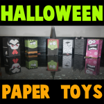 Collection of Halloween Paper Figures and Creepy Paper Toys