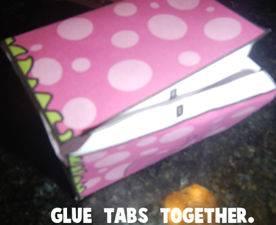 Step 5 glue the tabs together