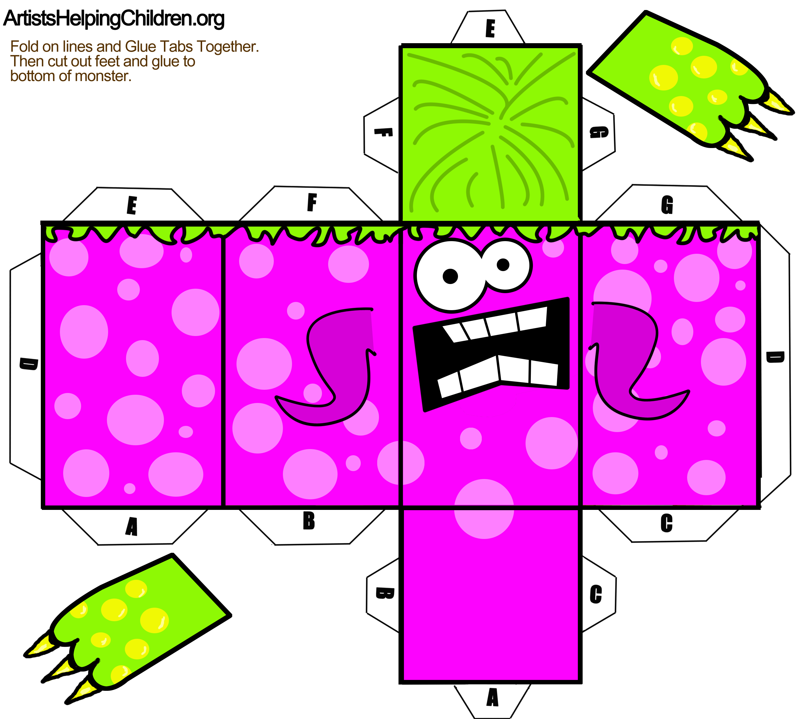 Foldable Paper Monster Toy Figures for Kids to Make on Halloween ...