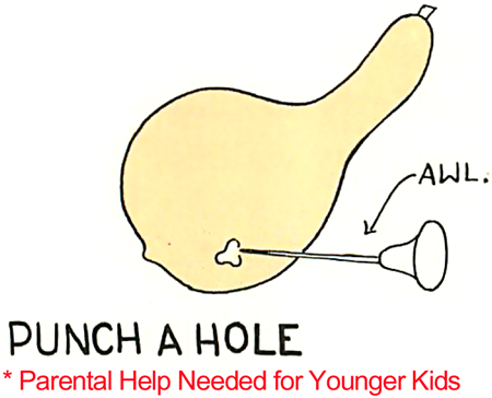 Using an Awl.... punch a hole in the gourd.