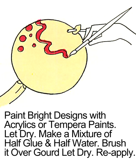 Paint bright designs with acrylics or tempera paints.