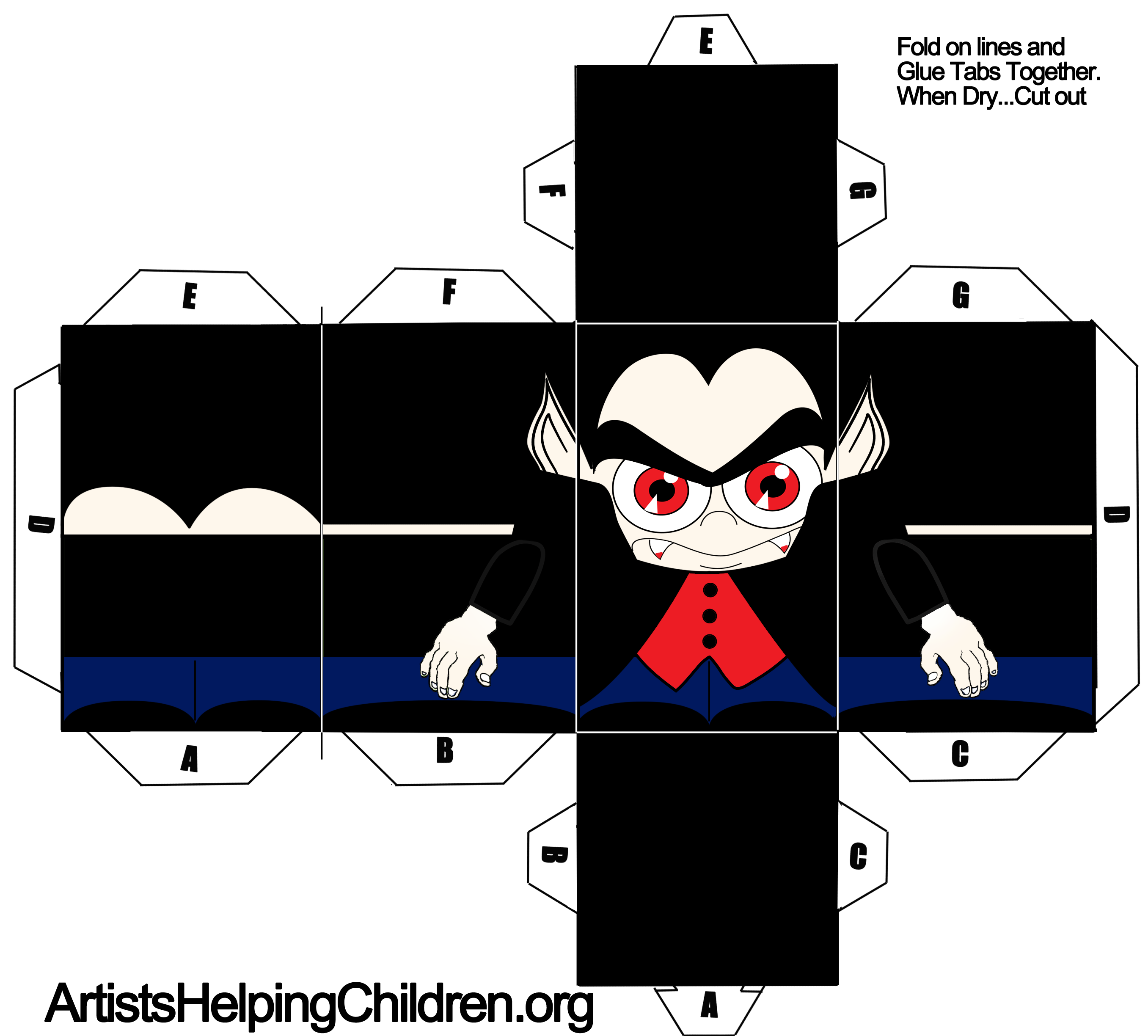 Paper Vampire Dracula Toy Figure Craft For Halloween Kids Crafts