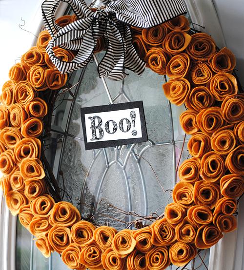 Felt Flower Halloween Wreath