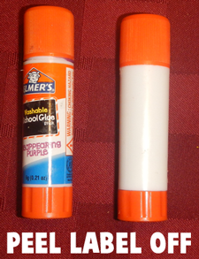 Take an empty Glue Stick and peel the label off of it.