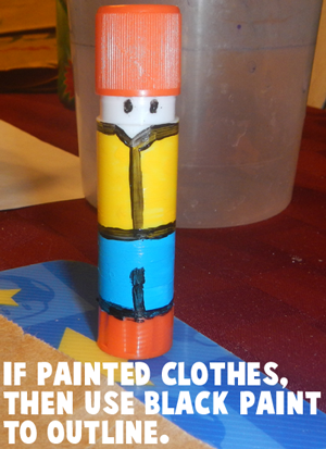If painted clothes, then use black paint to outline.