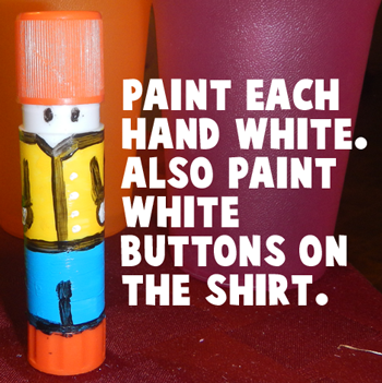 Paint each hand white.