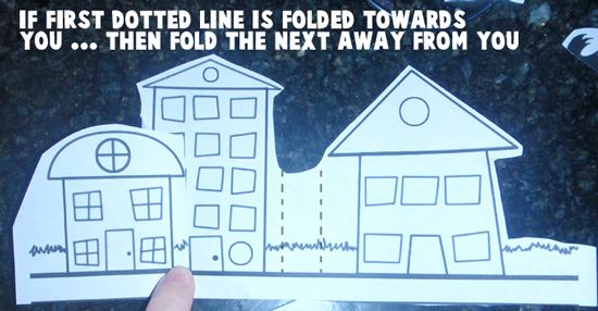 If first dotted line is folded towards you... then fold the next away from you.