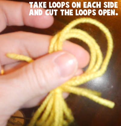 Take loops on each side and cut the loops open.