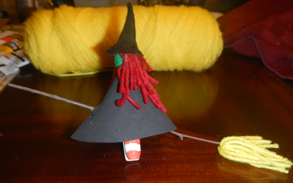 Finished Clothespin Witch