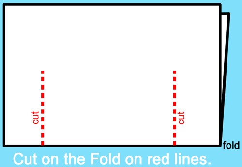 Cut on the fold on the red lines.