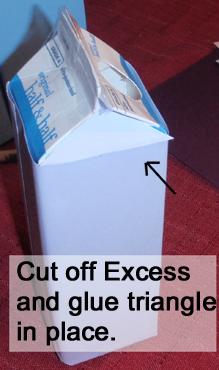 Cut off excess and glue triangle in place.