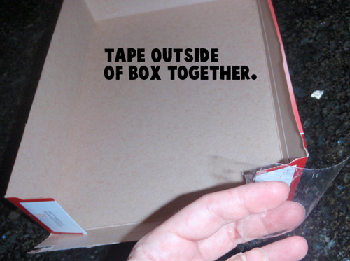 Tape outside of box together.