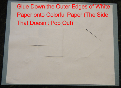 Glue down the outer edges of white paper onto colorful paper