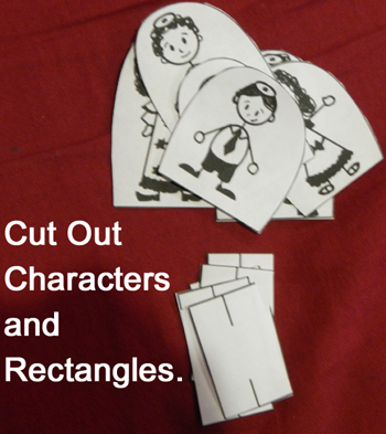 Cut out characters and rectangles.