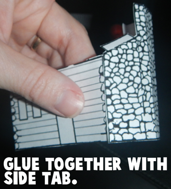 Glue together with side tab.