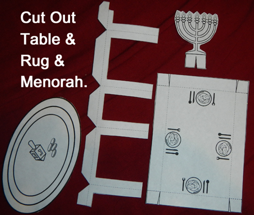 Cut out table, rug and menorah.