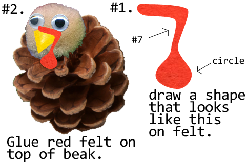 Draw a #7 like shape on red felt like above picture.  Glue red felt on top of beak.
