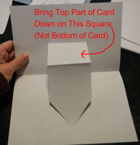 Bring top part of card down on this square