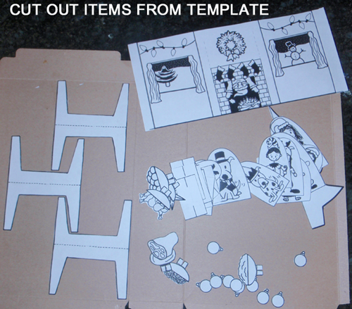 Cut out items from template.