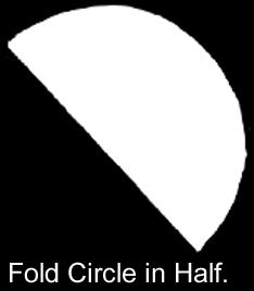 Fold circle in half.