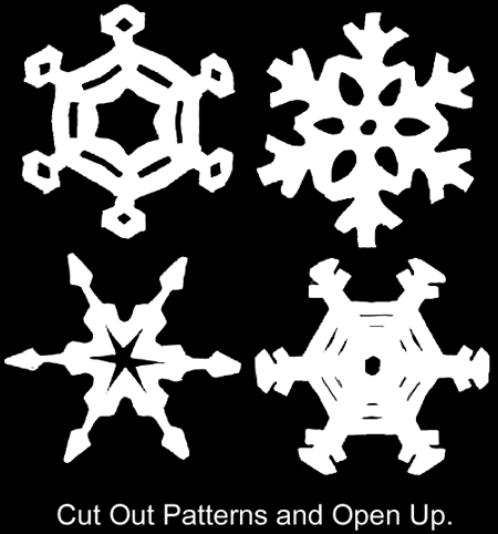 Cut out patterns and open up.