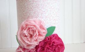 Crepe Paper Flowers Valentine Box