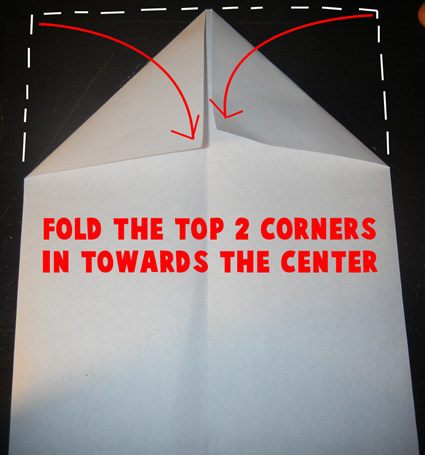Fold the top corners in towards the center.