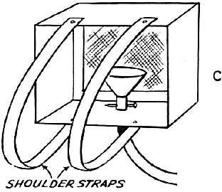 Fasten the belt shoulder straps to the top and the bottom of the carton with brass paper fasteners